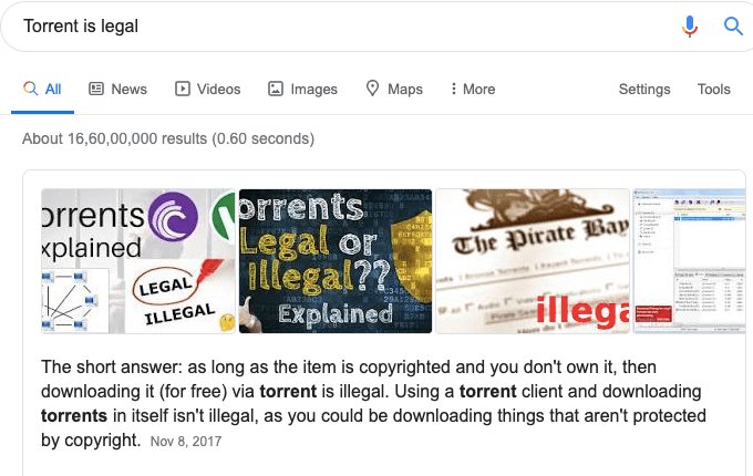 Torrent Is Not Legal