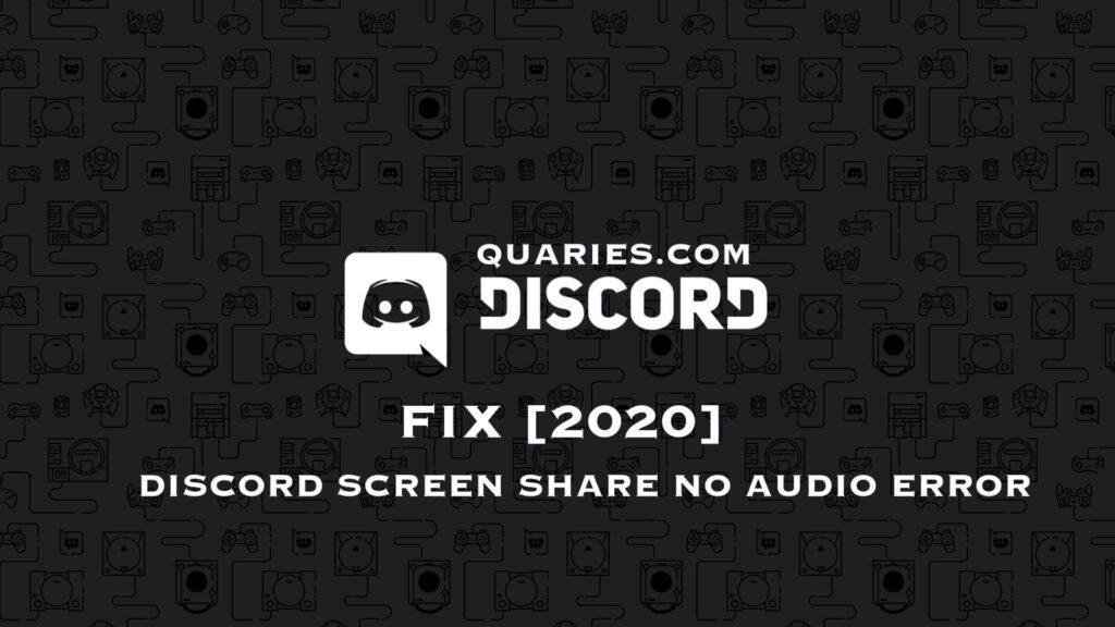 Discord Screen Share No Audio Error FIX