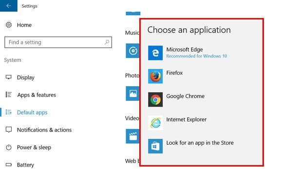 Change Default Web browser in Windows