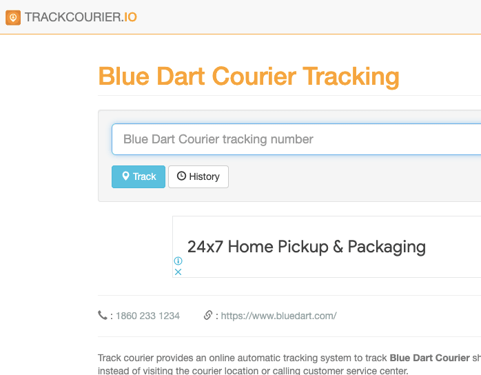 Blue Dart Courier Tracking By Trackcourier.io