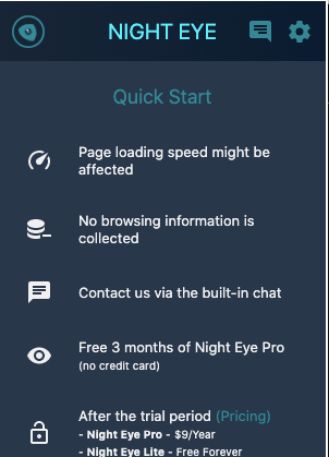 Night Eye Dark Mode Setting