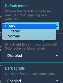 Night Eye Mode Options
