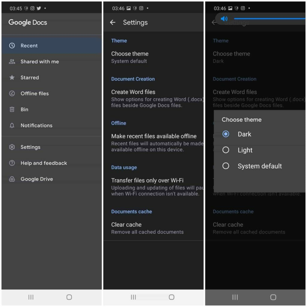 Google Docs, Sheet And Slide Dark Mode In Android & IOS