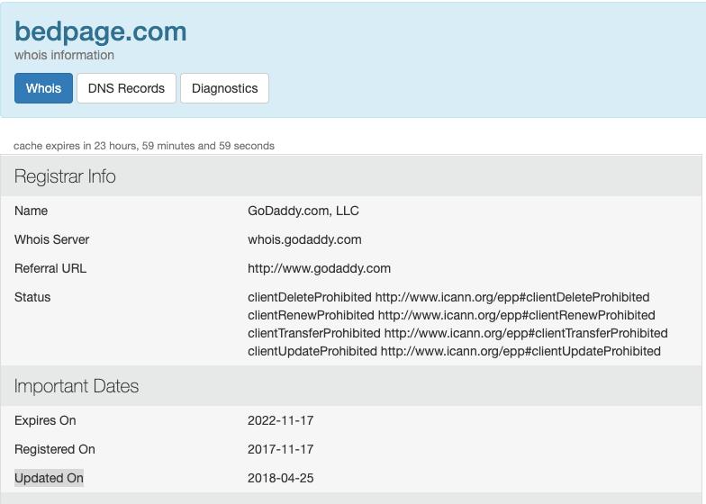 Bedpage.com Whois Info