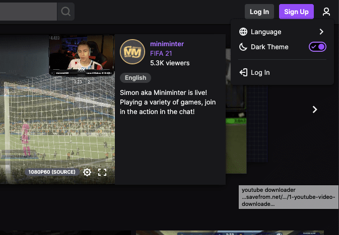 Dark Mode For Twitch