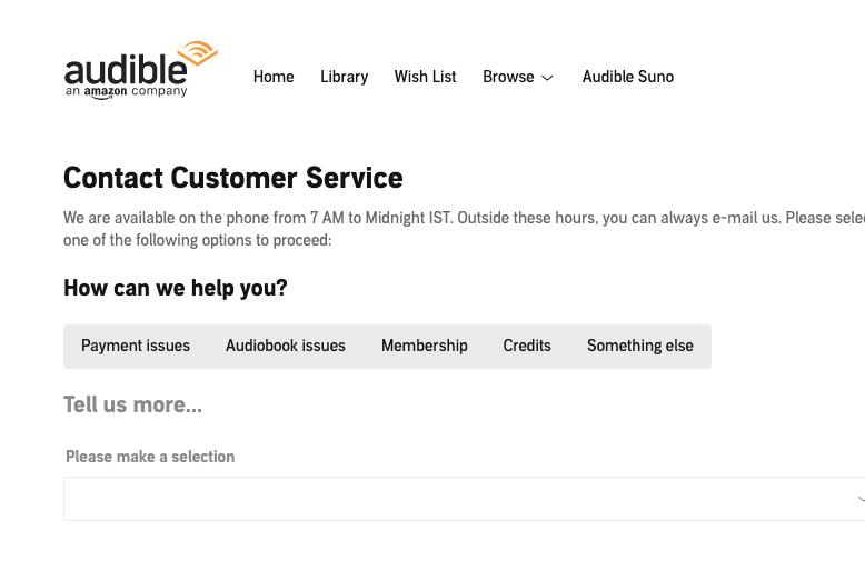 Contact The Audible Support