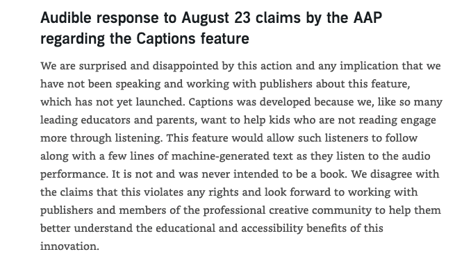 Audible Update About Caption Feature